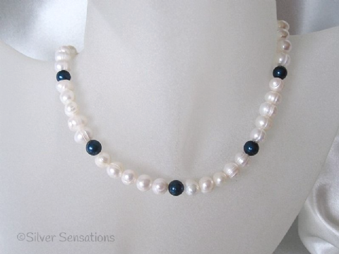 White Cultured Freshwater Pearls & Swarovski Petrol Pearls Sterling Silver Necklace
